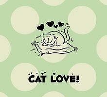 Drawn Cartoon Cat Love Hearts Black, Green by sitnica
