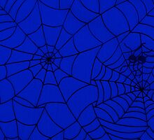 Funky Spider Web, Spiderweb, Cobweb Blue, Black by sitnica