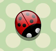 Cute Ladybug, Ladybird with Dots - Red, Black by sitnica