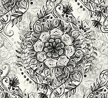 Messy Boho Floral in Charcoal and Cream  by micklyn