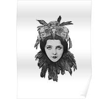 Dame Bird Skull Poster