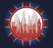 London City Skyline - black Kids Tee