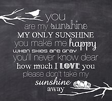 You Are My Sunshine – Nest – Square – Chalkboard  by Janelle Wourms
