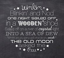 Winkin Blinkin and Nod – Square – Chalkboard  by Janelle Wourms