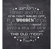 Winkin Blinkin and Nod – Square – Chalkboard  Photographic Print