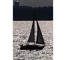 Backlit boat Photographic Print