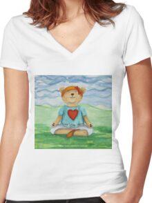 Live Love Yoga Bear  Women's Fitted V-Neck T-Shirt