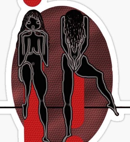 Two black girls in red Sticker