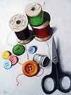 Sewing Memories 2 realistic still life by LindaAppleArt