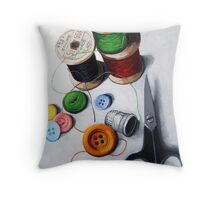Sewing Memories 2 realistic still life Throw Pillow