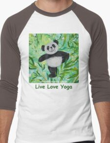 Live Love Yoga Panda Bear Men's Baseball ¾ T-Shirt