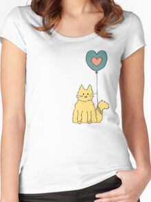 My cat loves balloons Women's Fitted Scoop T-Shirt