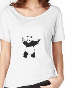 Banksy Panda With Handguns Women's Relaxed Fit T-Shirt