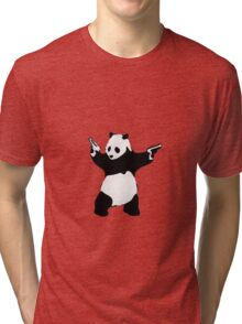 Banksy Panda With Handguns Tri-blend T-Shirt