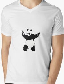 Banksy Panda With Handguns Mens V-Neck T-Shirt