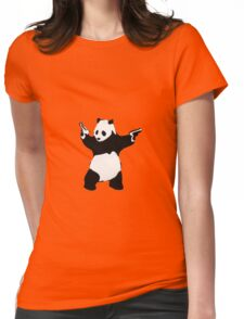 Banksy Panda With Handguns Womens Fitted T-Shirt