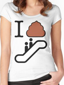 I Poop Escalator Women's Fitted Scoop T-Shirt
