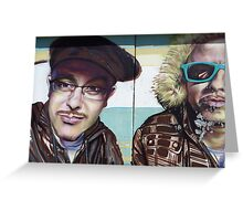 Brown Jackets and Glasses Greeting Card