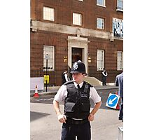 A police officer outside St Mary's Hospital London Photographic Print