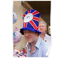 A man in a union jack hat awaits the new royal arrival Poster