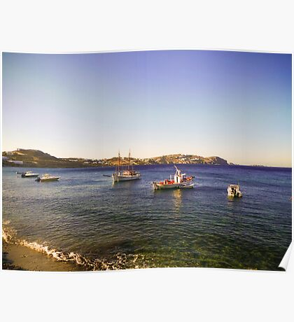 boats in the blue Aegean sea Poster