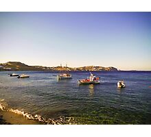 boats in the blue Aegean sea Photographic Print