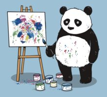 Pandas paint colorful pictures. Kids Clothes