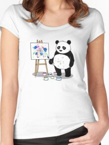 Pandas paint colorful pictures. Women's Fitted Scoop T-Shirt