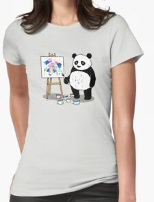 Pandas paint colorful pictures. Womens Fitted T-Shirt