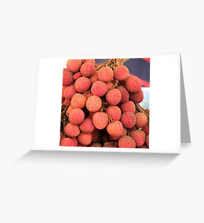 Fresh Red Lychee Fruit Greeting Card