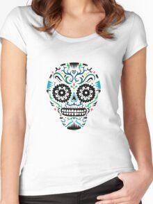 Sugar Skull SF multi om white Women's Fitted Scoop T-Shirt