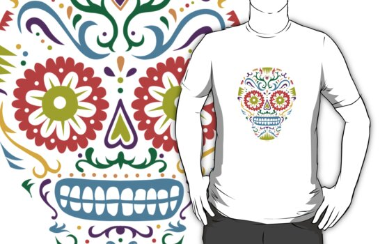 Sugar Skull SF multi 2 - on white by Andi Bird