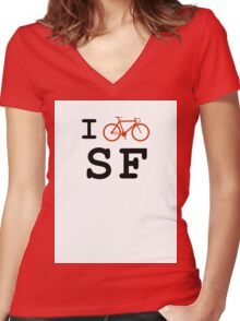 "I ""ride"" San Francisco Women's Fitted V-Neck T-Shirt"