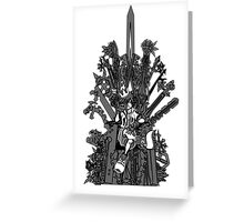 Kingdom Hearts: Game of Hearts blk+wht Greeting Card