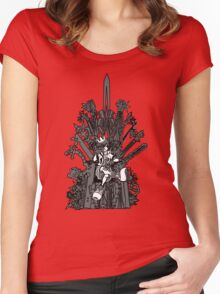 Kingdom Hearts: Game of Hearts blk+wht Women's Fitted Scoop T-Shirt
