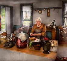 Chef - Kitchen - Cleaning cherries  by Mike  Savad