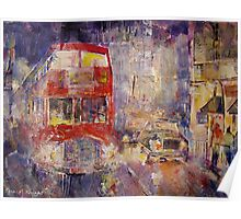 Red Bus Busy London Traffic - Cities Art Gallery Poster