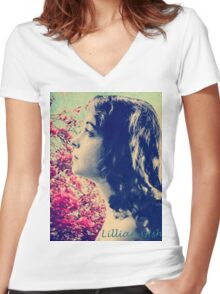 Lillian of Broken Blossoms Women's Fitted V-Neck T-Shirt