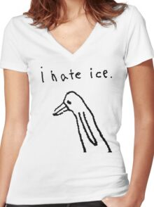 i hate ice. Women's Fitted V-Neck T-Shirt