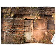Old Wooden Shack with Poem Poster