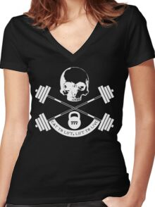 My wife is a weight lifter, so... Women's Fitted V-Neck T-Shirt