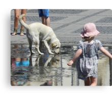 White Dog and Toddler Canvas Print