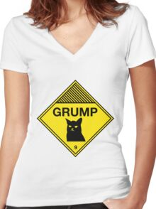 Grumpy Cat Warning Women's Fitted V-Neck T-Shirt