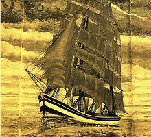 A sepia digital painting of my acrylic painting of a Clipper Ship iPad case by Dennis Melling
