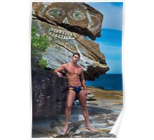Man in speedos at beach with modern rock art Poster