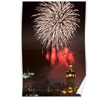 Vertical vew on Edinburgh castle with fireworks Poster