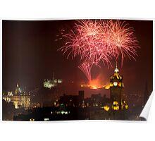 Horizontal view on Edinburgh castle with fireworks Poster