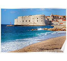 Dubrovnik Old City and Beach Poster