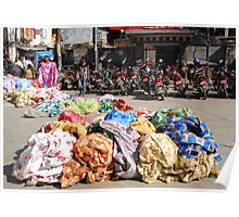 Colourful street market in Kathmandu Poster