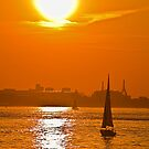 USA. Massachusetts. Boston. Harbor. Sunset. by vadim19
